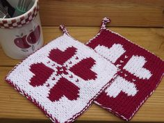 double knit heart potholders. Free pattern