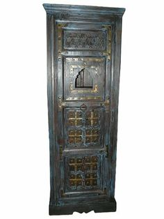 Antique Cabinet Armoire Blue Patina Brass Accent Hand Carved Indian Furniture 83x28x20 FREE SHIP by Mogulinterior, http://www.amazon.com/dp/B009DFHRX6/ref=cm_sw_r_pi_dp_isH3qb09EV8S3