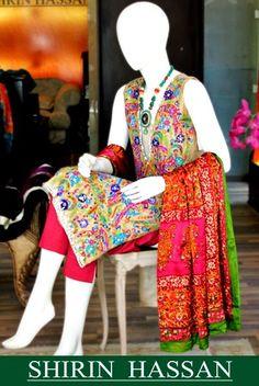 Shirin Hassan Celestial Kurta Summer time Collection-2014 for Girls| Shirin Hassan Formal Kurta Fashion for Females - FASHIONPAB