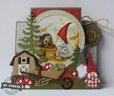 Kaarten & zo: Herfst in het kabouterbos. Christmas Gnome, Christmas Makes, Christmas Items, Handmade Christmas, Marianne Design Cards, Elves And Fairies, Fall Cards, Love Cards, Tim Holtz