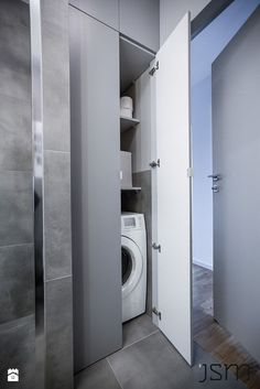Hidden secondary washer/dryer for guest bedrooms Laundry Bathroom Combo, Laundry Room Doors, Laundry Room Cabinets, Small Laundry Rooms, Laundry Room Design, Bathroom Toilets, Bathroom Renos, Bathroom Furniture, Modern Bathroom