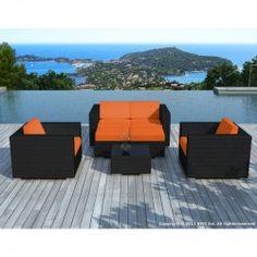 Salon de jardin design 1 table + 6 fauteuils sur
