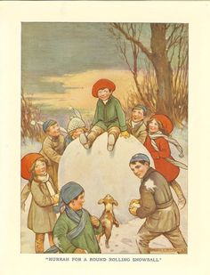 1920s Children's Print- Young Boy Green Coat Red Hat Sitting On Top Giant Snowball Children Making Throwing Snowballs Dog Sunset Book Plate