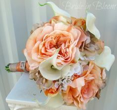 Peaches & Cream Wedding bouquet Bridal by BrideinBloomWeddings, $120.00  Add succulents and soft green instead of taupe.  Use ivory hydrangea instead of cala lilies.