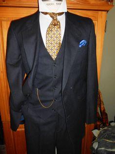 JACK ROBBINS men's 3 piece suit Navy blue by RichardsFabulousFind, $189.00