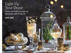 Lit Decor - Pottery Barn lanterns with small trees inside