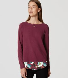 Primary Image of Floral Mixed Media Shirttail Sweater