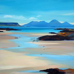 Pam Carter was born in Tanzania, East Africa. Her Scottish father and Austrian mother came to Glasgow when she was aged thirteen. Landscape Artwork, Watercolor Landscape, Watercolour, Watercolor Artists, Seascape Paintings, Indian Paintings, Oil Paintings, Beach Art, Art Pictures