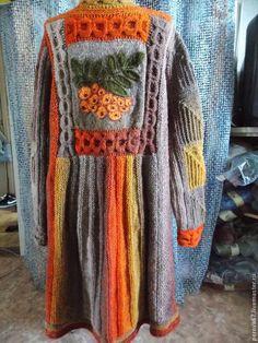 Верхняя одежда ручной работы. Ярмарка Мастеров - ручная работа. Купить Пальто вязаное Рябина. Handmade. Оранжевый, авторское пальто