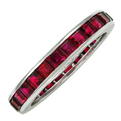 TIFFANY Ruby Eternity Band | From a unique collection of vintage band rings at http://www.1stdibs.com/jewelry/rings/band-rings/