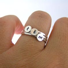 I WOULD LOVE THIS BUT WITH THREE INITIALS FOR LOGAN, AVA, AND EVAN :) :) Custom Initial Stack Rings Sterling Silver by LittleGreenRoom, $45.00