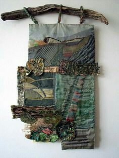 hanging mixed media art with drift wood