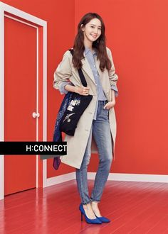 Yoona was chosen to continue with H: Connect for their 2017 Spring collection, this look can be found in over 100 stores in Korea. Kim Hyoyeon, Yoona Snsd, Kwon Yuri, Foto Pose, Spring Collection, Girls Generation, South Korean Girls, Kpop Girls, Spring Outfits
