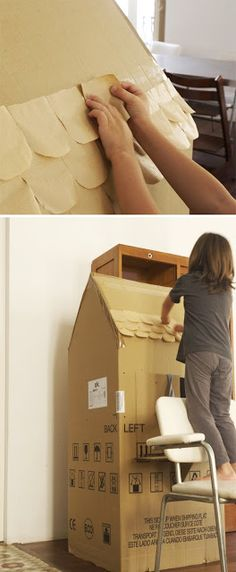 Building a charming cardboard box house