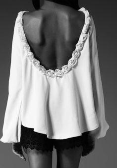 shirt roses white cute t-shirt open back