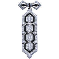 CARTIER PARIS Art Deco Diamond Platinum & Onyx Brooch