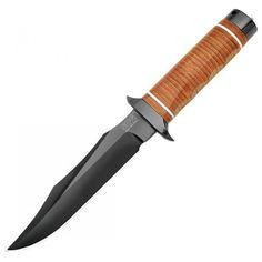 SOG SB1T-L Super SOG Bowie, AUS-8 Steel, w/ Leather Sheath + Sharpening Stone | MooseCreekGear.com | Outdoor Gear — Worldwide Delivery! | Pocket Knives - Fixed Blade Knives - Folding Knives - Survival Gear - Tactical Gear