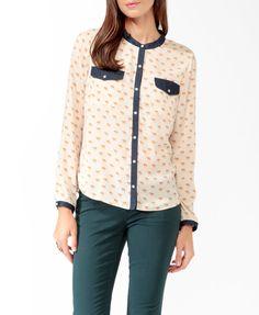 Camel Print & Denim Shirt | FOREVER21 - 2025100667 SIZE MEDIUM