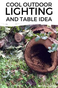 Check out this creative repurposed wood log DIY LED lighting table project for your outdoor poolside or backyard patio porch space. This cheap and easy outdoor table is truly an inspiration. #diy #outdoor #table Diy Outdoor Table, Outdoor Living, Diy Led, Summer Centerpieces, Raised Planter, Diy Plant Stand, Backyard Patio, Backyard Ideas, Repurposed Wood