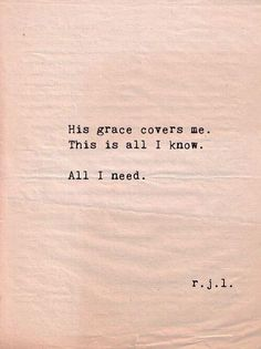 His grace covers me