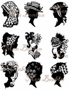 Digital Download Vintage Silhouettes of Ladies with Hats no.2 Collage Sheet - INSTANT DOWNLOAD. $2.89, via Etsy.