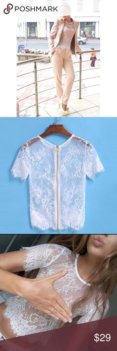 """White Lace Top This blouse can be worn with a suit for a feminine and professional look or with some panties for a super see look. Brand new! Measures Bust 31-36"""", Length 20"""" Ships same day if ordered by 10:00 CST. Bundle 3 items and save 15% Tops"""