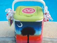 Items similar to Custom Painted Cooler - Small Personal Size qt.) on Etsy Sorority Gifts, Sorority And Fraternity, Formal Cooler Ideas, Palm Tree Sunset, Palm Trees, Palm Tree Pictures, Party Like Gatsby, Coolest Cooler, Cooler Designs