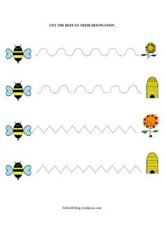 Getting from A to Bee… – Butterflo kids Tracing Worksheets, Kindergarten Worksheets, Worksheets For Kids, Bee Activities, Art Activities For Kids, Preschool Writing, Preschool Crafts, Bee Crafts For Kids, Pre Writing