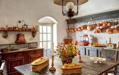 Jacques Garcia's latest masterpiece is a Sicilian monastery, luxuriously reborn as a retreat for the celebrated designer and his friends Unique Home Decor, Cheap Home Decor, Copper Kitchen, Copper Pots, French Kitchen, Western Homes, Step Inside, Architectural Digest, Decoration