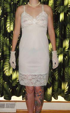 Vintage White Van Raalte Slip 34 pinup retro sheer lace undergarment Rockabilly, Collars, Pin Up, Peek A Boo, Girl Silhouette, White Vans, Vintage Black, Vintage Slip, Light Blue Color
