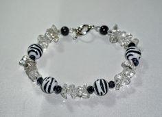 White and Black,  Ice Quartz, Crystal Bracelet,  Toggle and Clasp,   Black Crystal,  Zebra Print,  Animal Print,  Promo Code by EarthDreamsbySunLi on Etsy