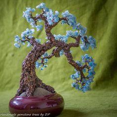 Aquamarine gemstone bonsai tree