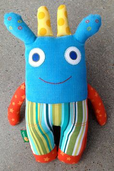 Boys favourite. Soft toy, monster toy, monster softie in blue corduroy and stripes