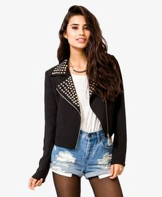 Studded Moto Jacket  Also available in light pink