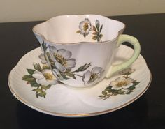Vintage Shelley Bailey's white rose/made in England/Teacup and saucer set/fine bone china/pattern 2451 by VintageSowles on Etsy