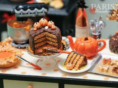 Miniature chocolate Halloween celebration cake