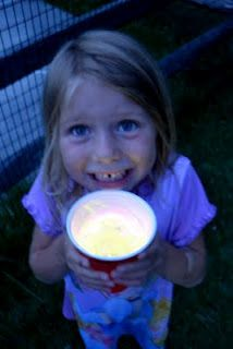 glow in the dark drinks: Snap and shake a glow in dark bracelet, put in the bottom of a large plastic cup. Place a clear plastic cup inside it and fill with drink. Fun!