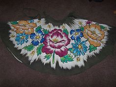 Vintage 40's 50's silk mexican circle skirt sequins floral flowers M/L