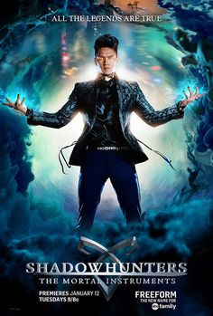 "Magnus Bane from Shadowhunters 101: Get to Know the Characters and the Ships Played by: Harry Shum Jr. Who he is: An immortal warlock with a killer wardrobe and love of glitter, Magnus is over 800 years old. He takes an immediate interest in Alec, proving he has eyes that are fully functional. Who to ship him with: Alec. Prepare to hear a lot about ""Malec,"" y'all!"