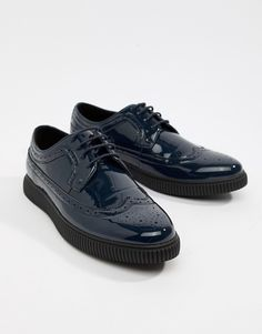 25645efe6d34 ASOS DESIGN brogue shoes in navy patent with creeper sole Mens Creepers