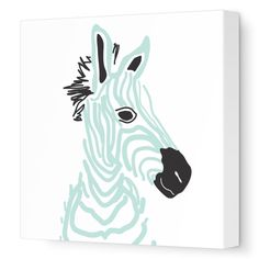 baby zebra sea green // animals decor
