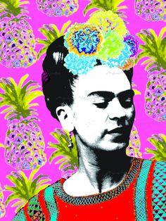 Retrato de Frida Kahlo en Fondo Rosa con Piñas Archivo Descargable Photo Collage Modernista Bohemio