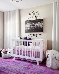Project Nursery - Black White and Purple Nursery Modern Nursery Decor, Nursery Neutral, Nursery Themes, Nursery Ideas, Modern Decor, Bohemian Nursery, White Nursery, White Bedroom, Room Themes