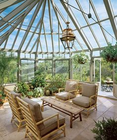 A glass roof would definitely be a wonderful feature for a sunroom