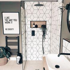 Upstairs Bathrooms, Bathroom Renos, Remodel Bathroom, Modern Bathroom Tile, White Bathroom Tiles, Ikea Bathroom, Bathroom Showers, Modern Shower, Shower Remodel