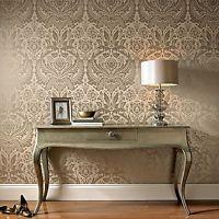 Graham & Brown Desire Damask Taupe / Metallic Luxury Wallpaper 50-186