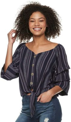 On-trend details abound on this juniors' tie-front peasant top from Crave Fame. Junior Tops, Peasant Tops, Ruffle Sleeve, Cravings, Ruffles, Tie, Women, Fashion, Moda
