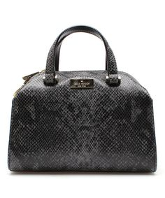 Look at this Kate Spade Gray & Black Mini Mira Parliament Square Snake Leather Satchel on #zulily today!