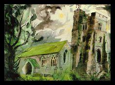 """Newchurch, Romney Marsh"" by John Piper Edward Hopper, John Piper Artist, Romney Marsh, Art Through The Ages, Building Art, A Level Art, Landscape Paintings, Landscape Art, Landscapes"