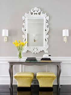 UNDECORATING, DO YOU KNOW HOW TO DO IT? ornate mirror + chic console + bright colored ottomans